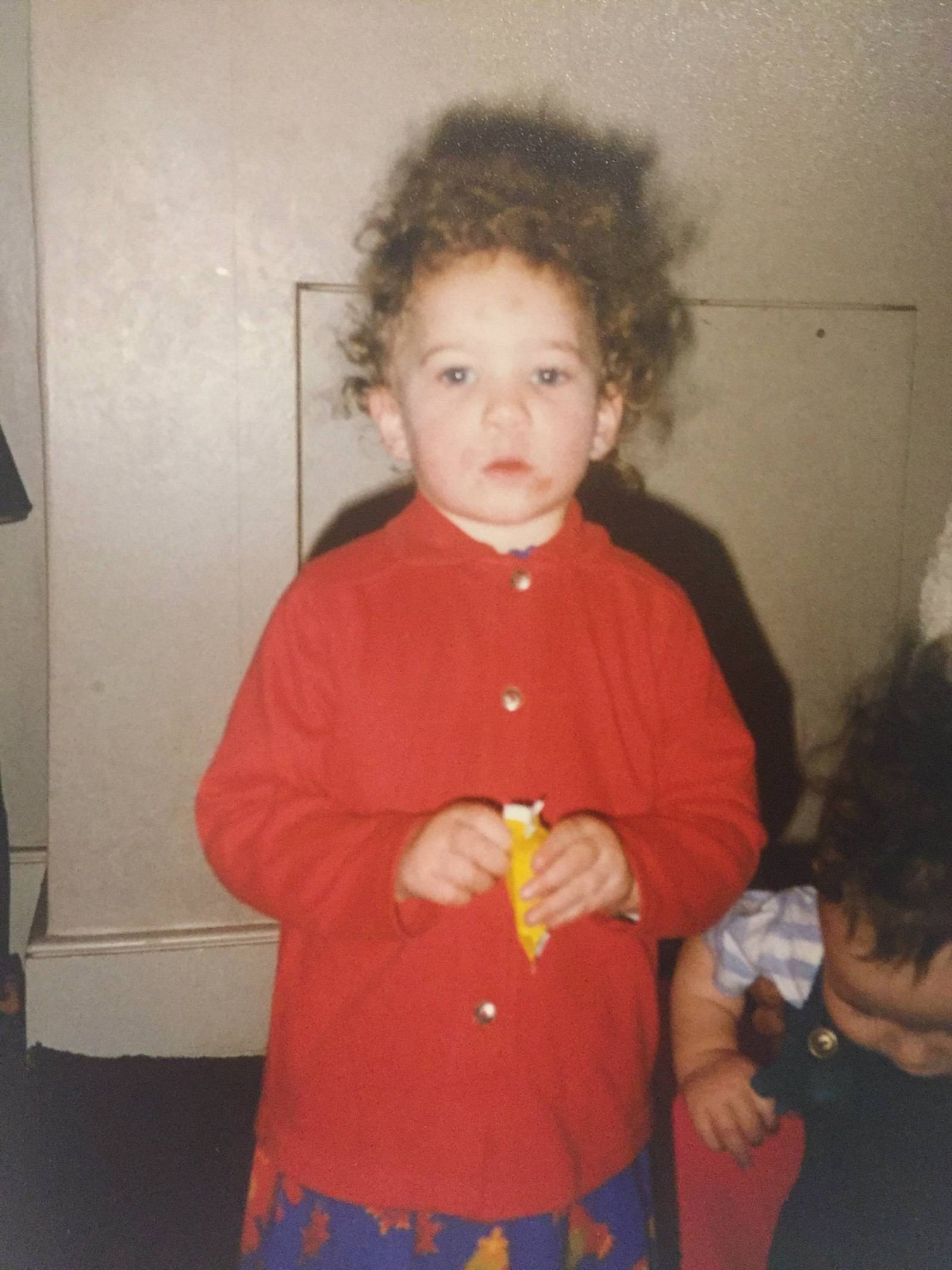 red shirt and curls outfit