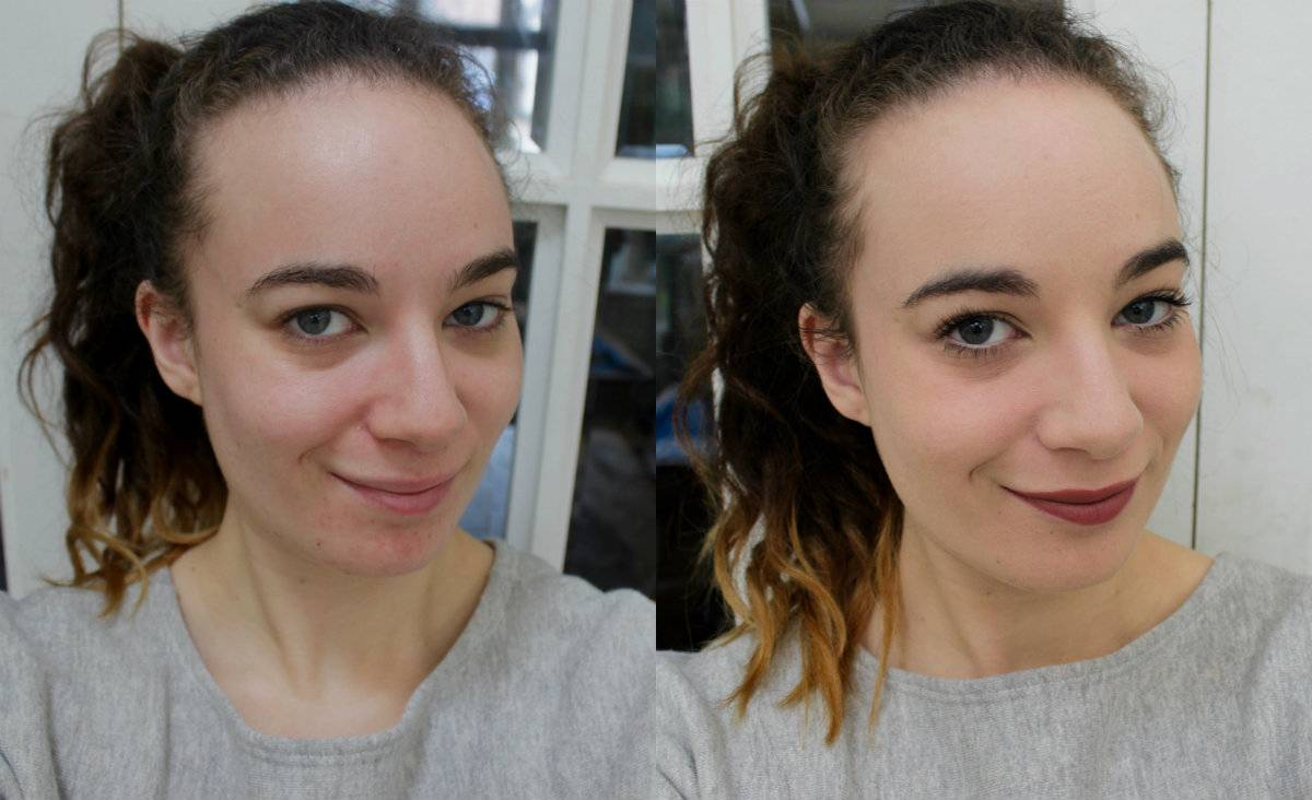 Laura Mercier before and after of foundation
