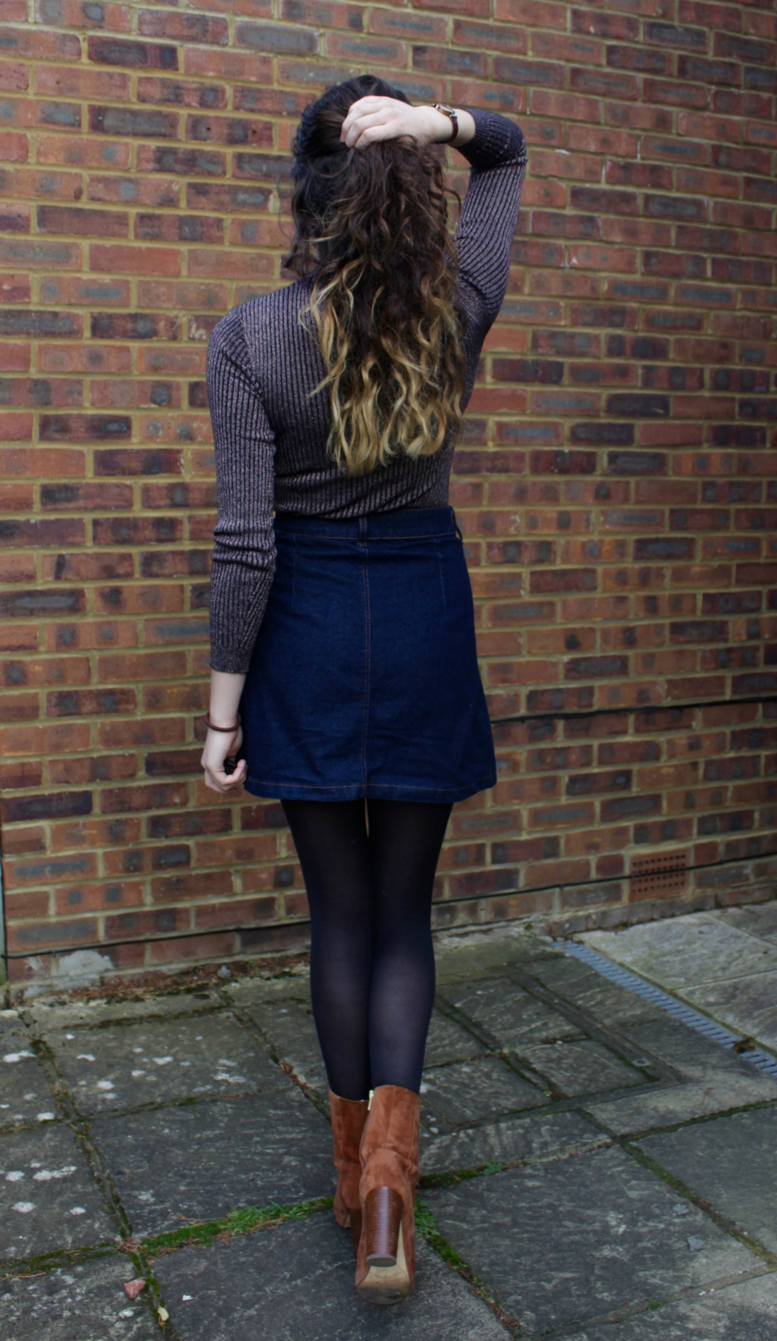 Denim skirt outfit from the back
