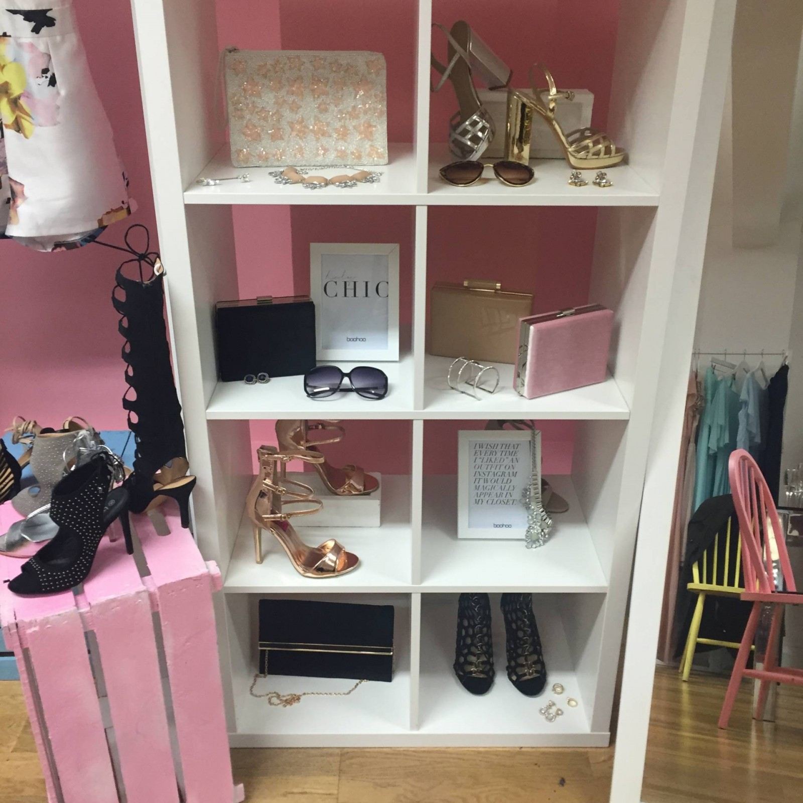 Accessories display at Boohoo event