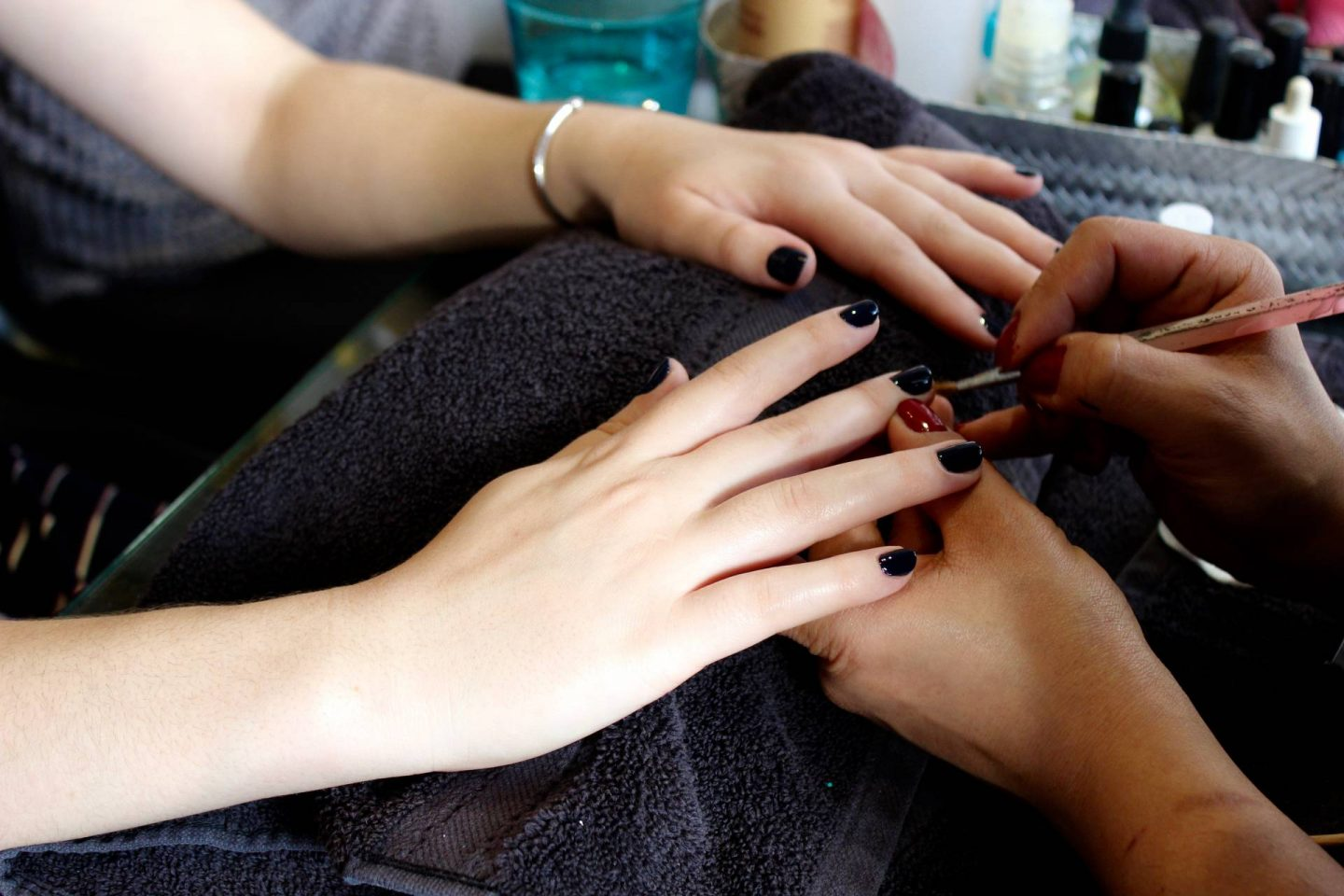 fe hair and beauty navy nails manicure