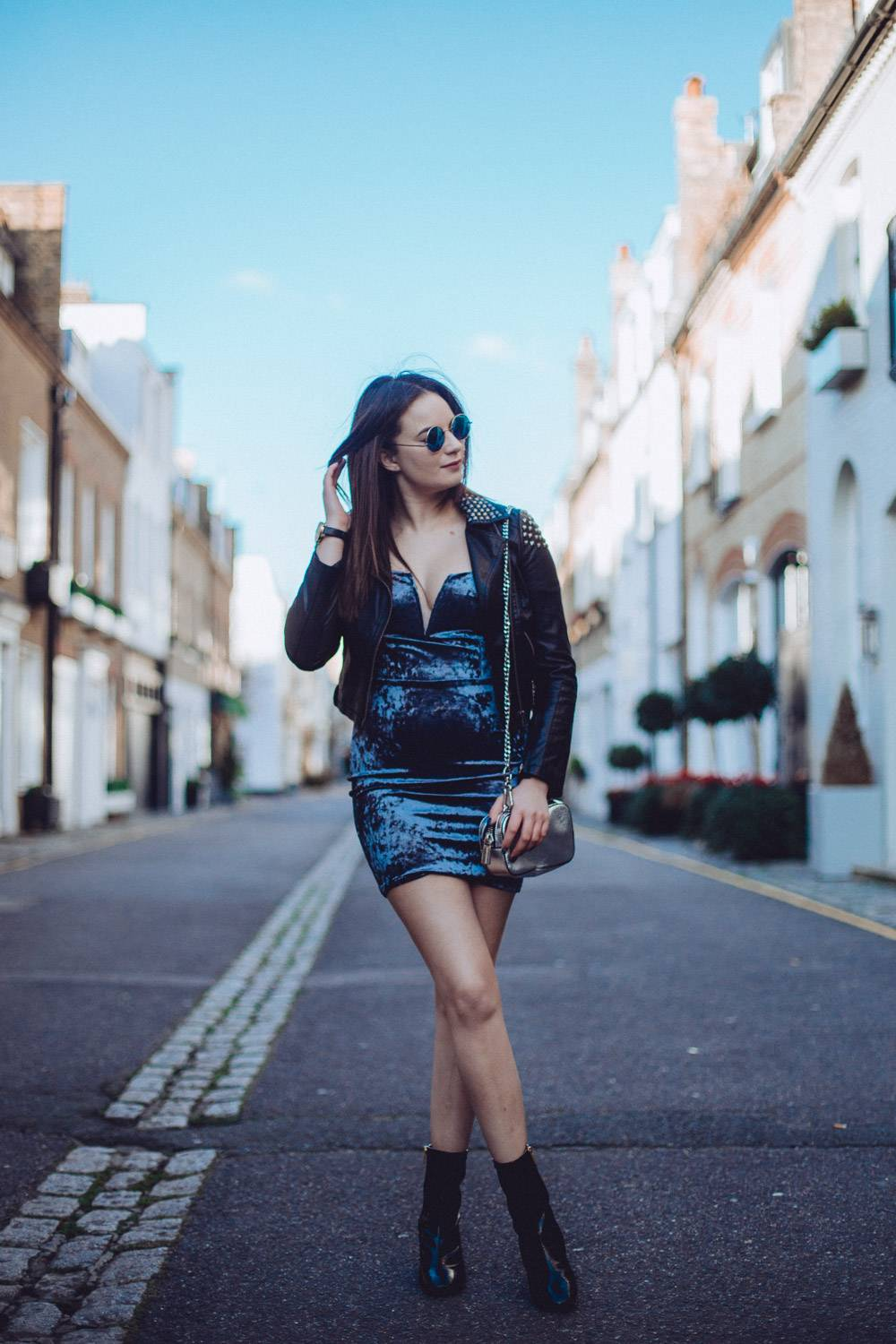 Crushed velvet London mews outfit