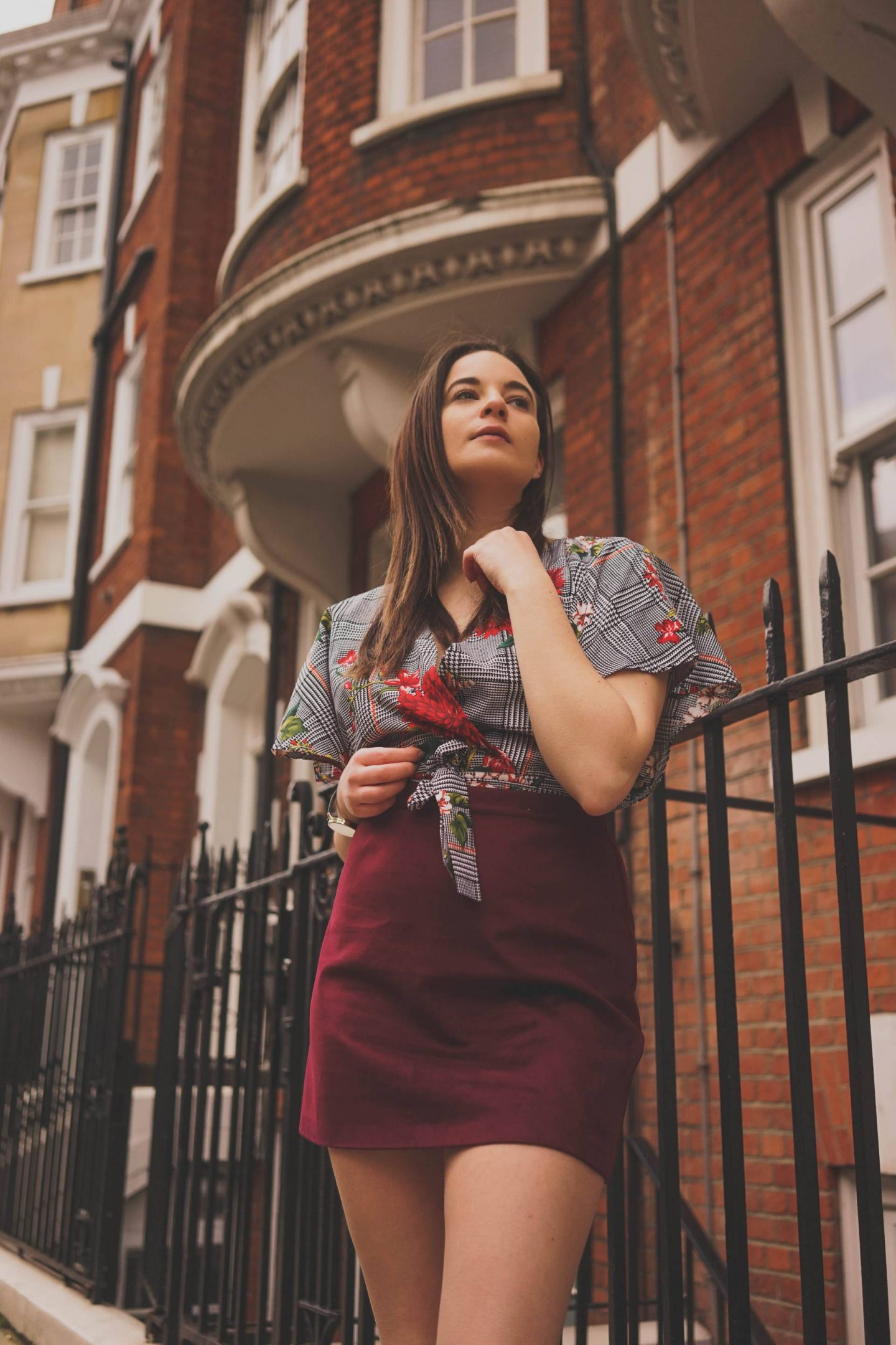 Spring floral blouse London street style