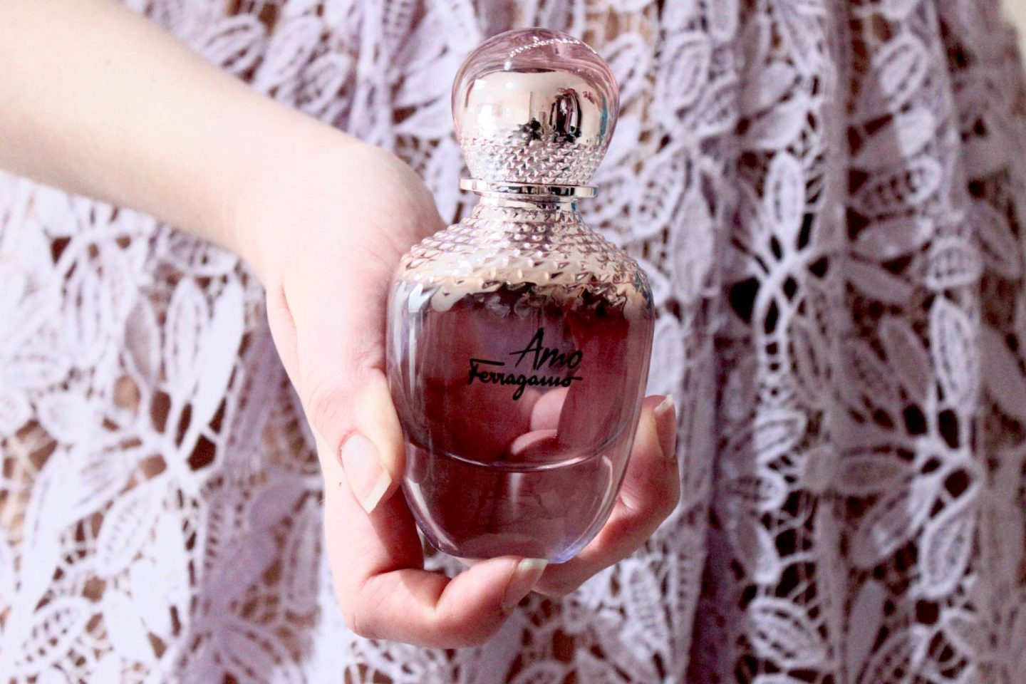 Amo Ferragamo metallic rose perfume bottle