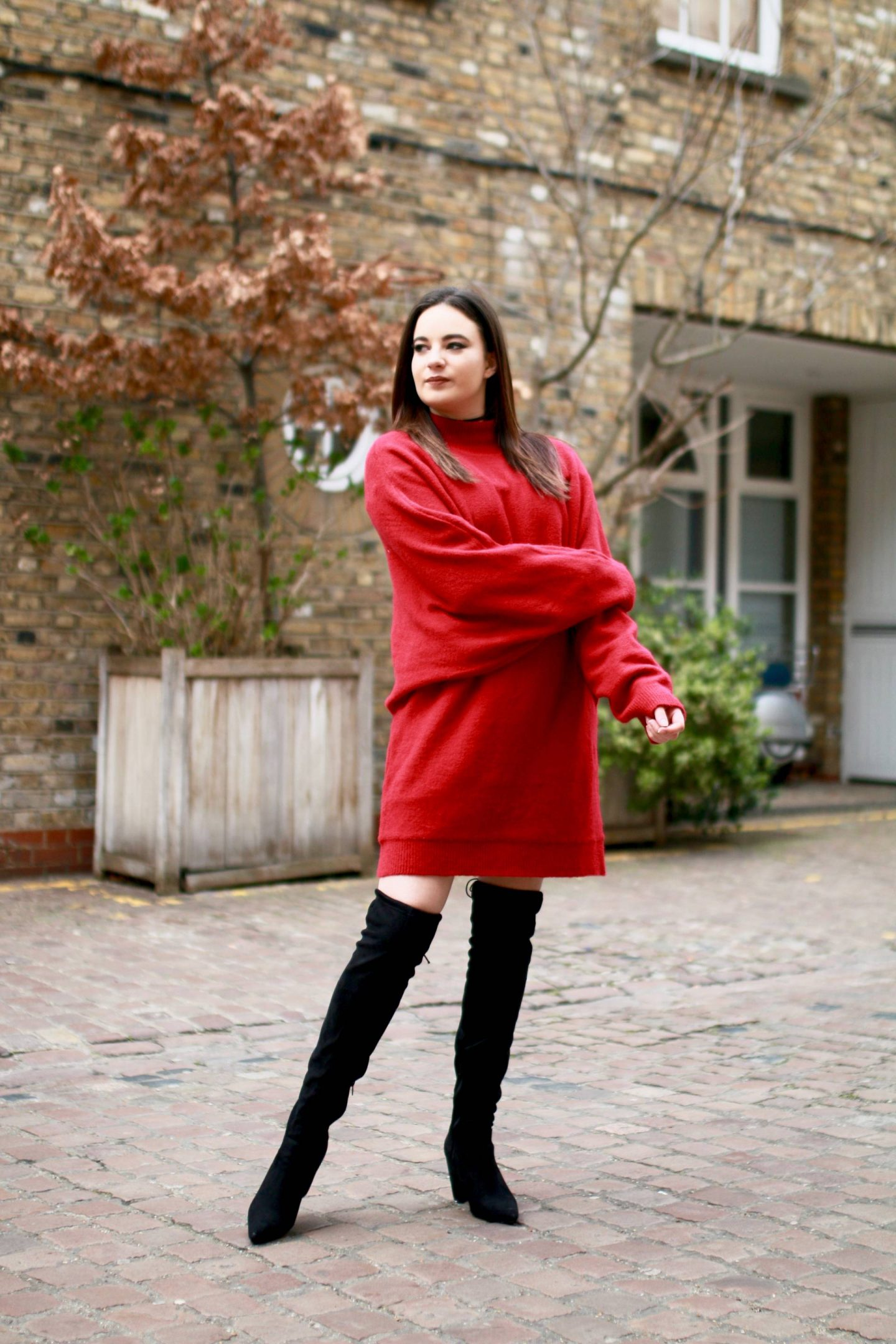 red sweater dress outfit south kensington photoshoot