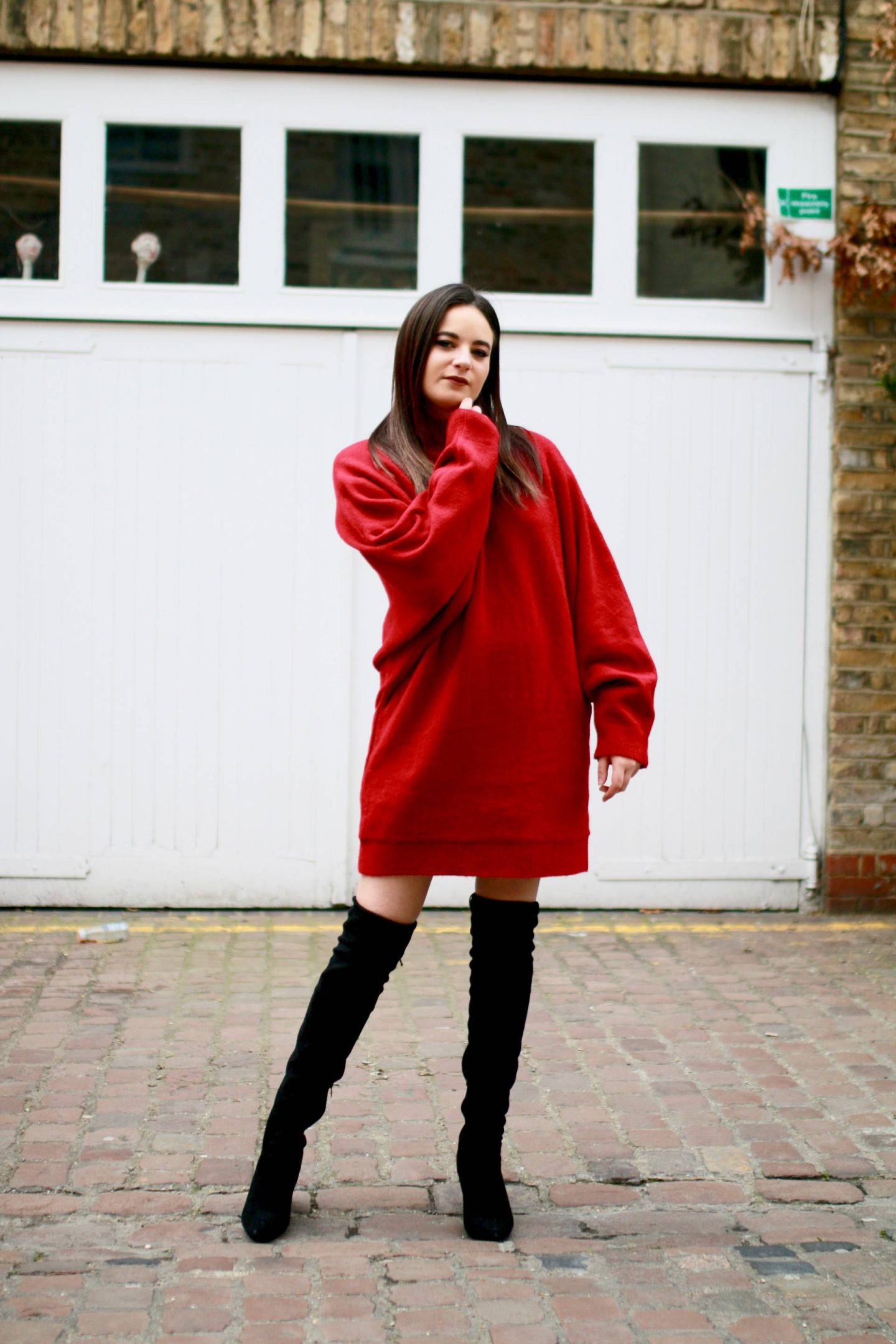 red sweater dress spring