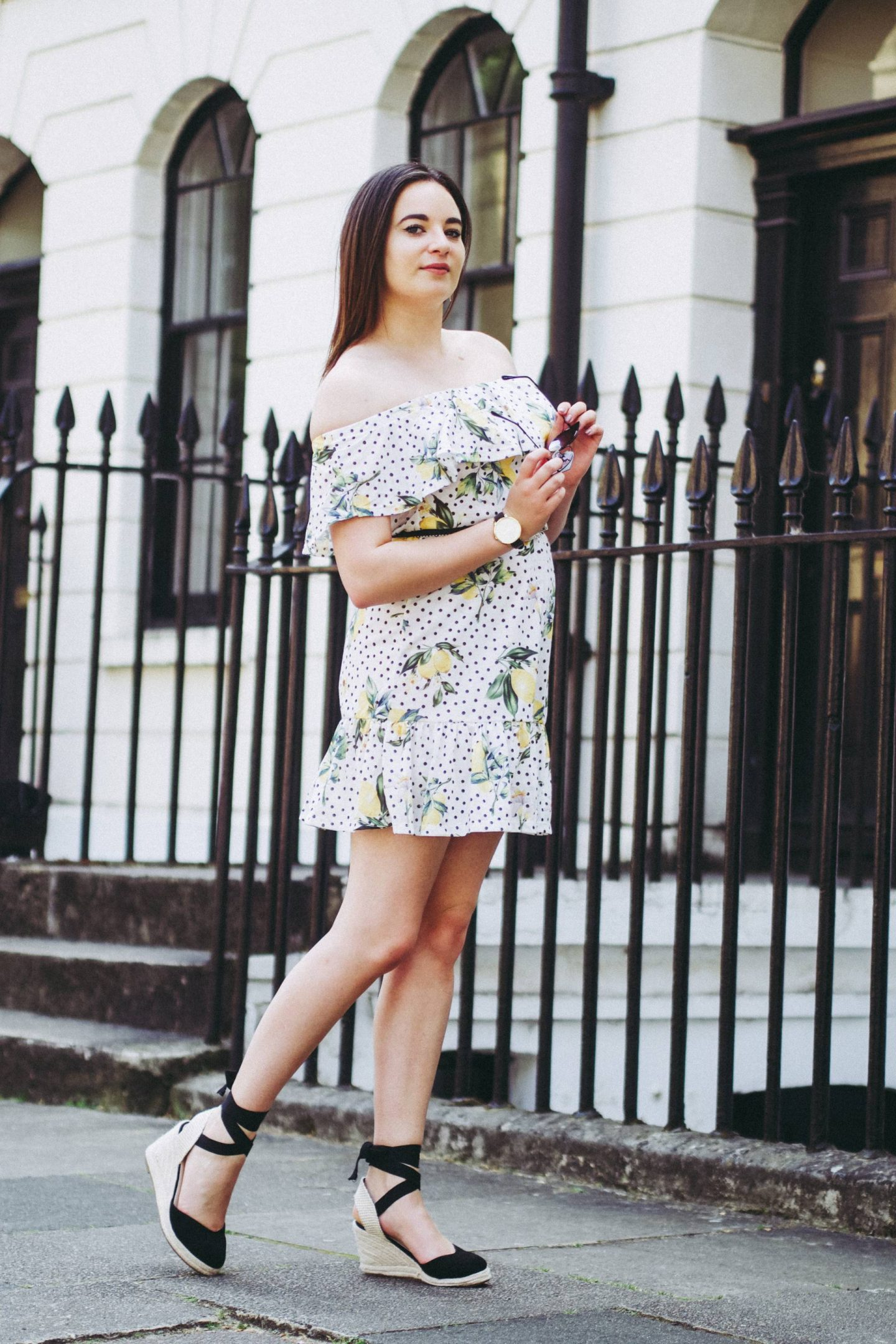 ASOS off the shoulder lemon print dress