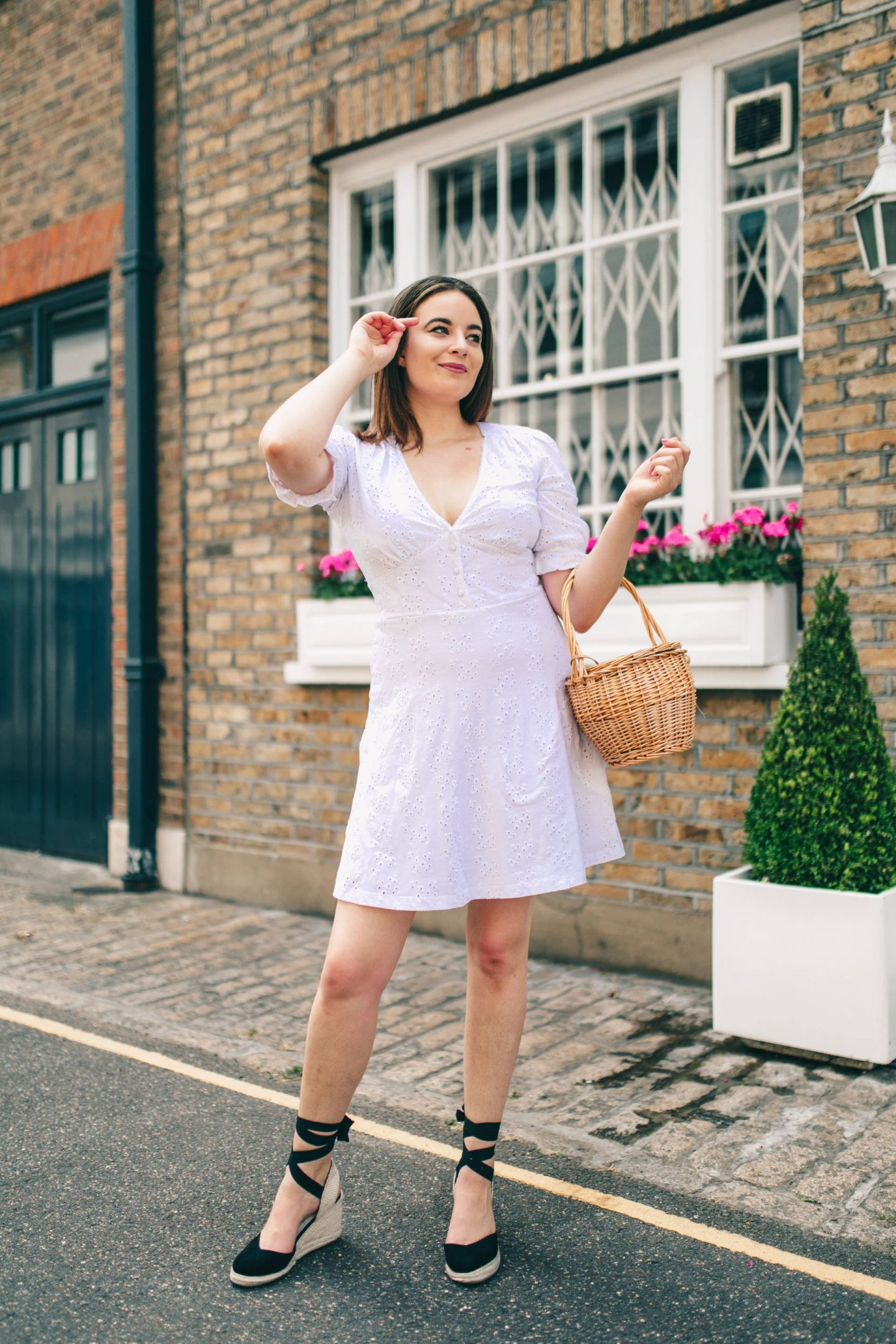 ASOS white Broderie Anglaise tea dress