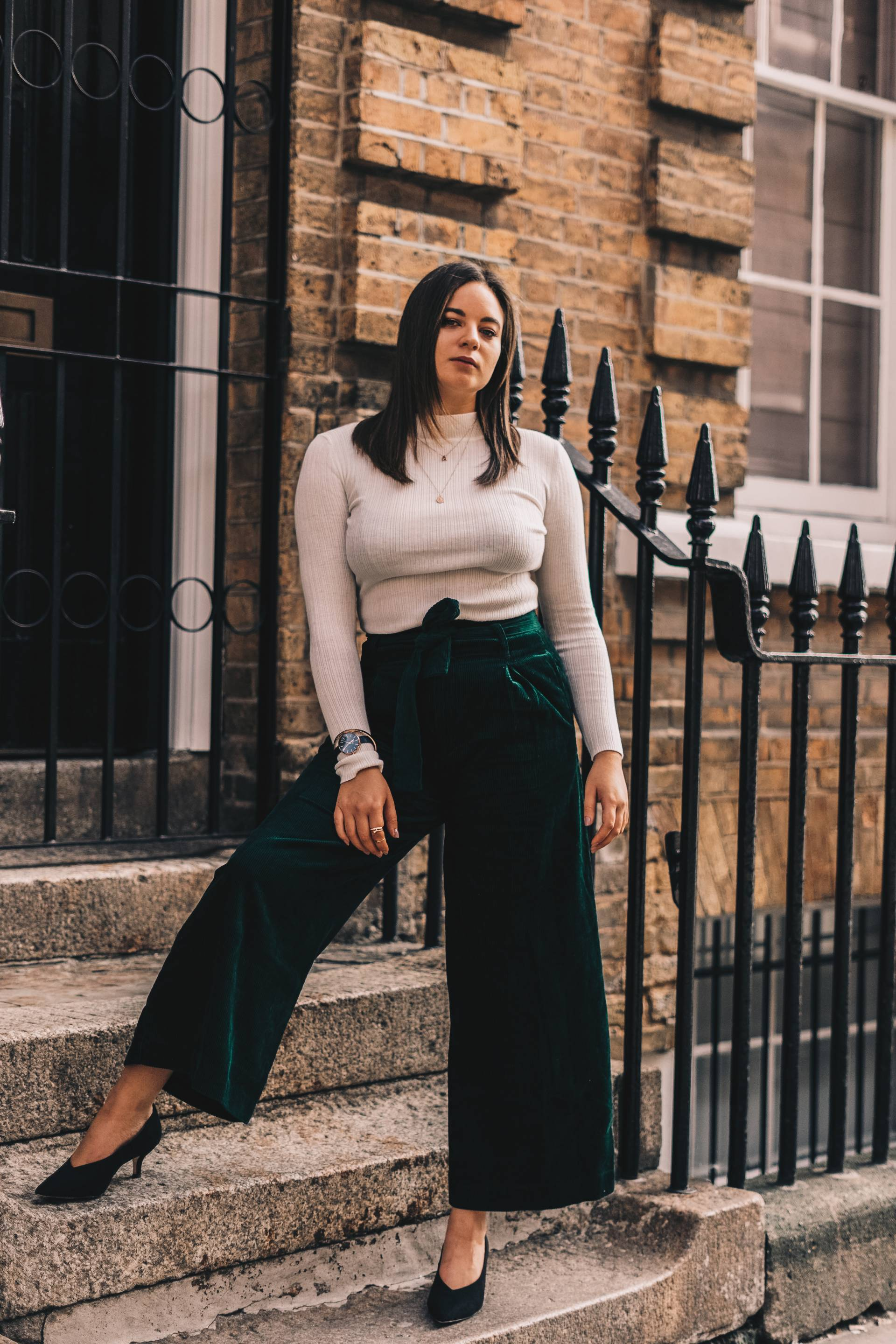 Primark emerald wide leg trousers