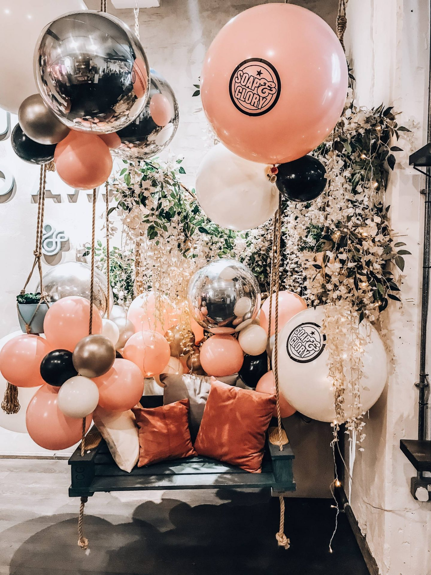 Soap and Glory pink balloon swing