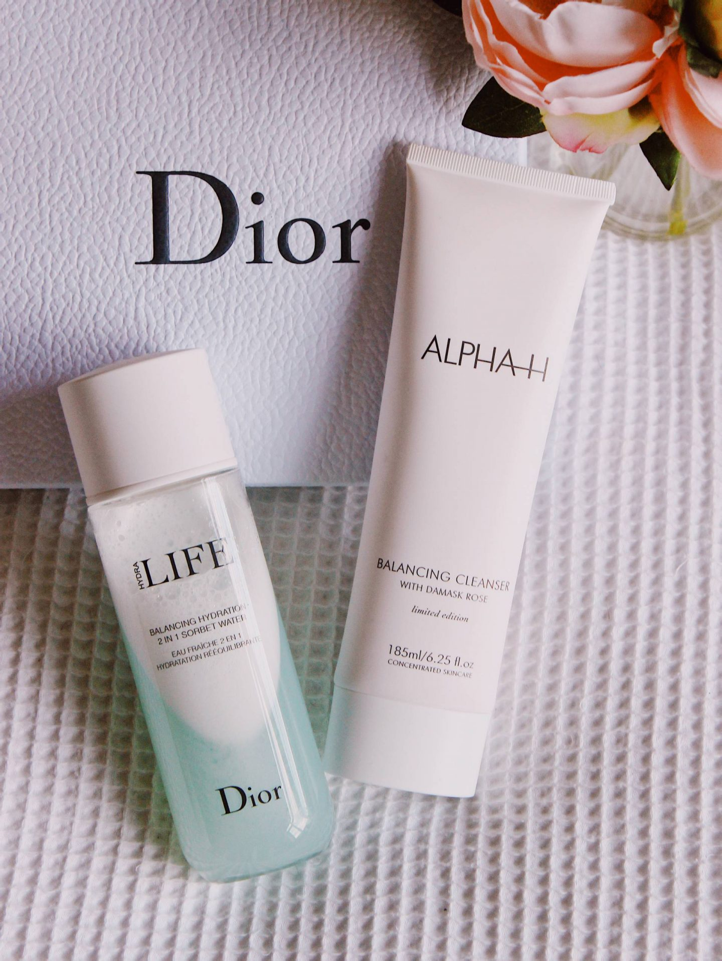 Alpha H balancing cleanser and Dior hydrating sorbet water
