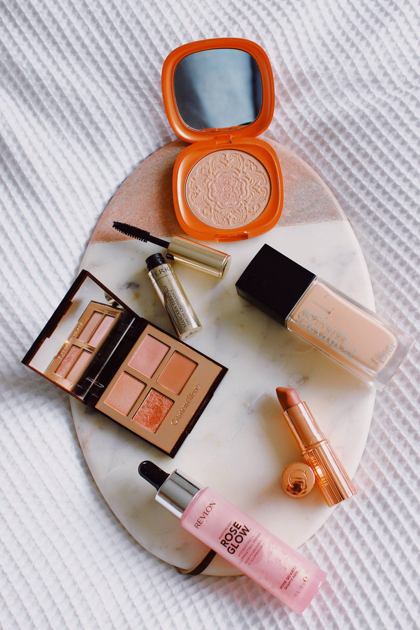 six rose gold makeup products