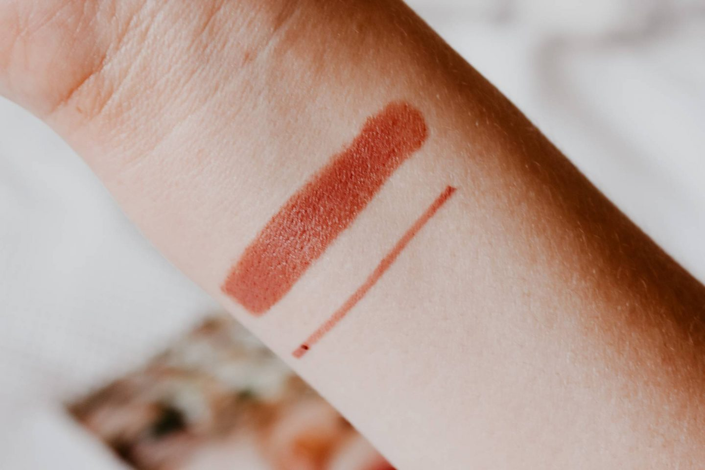 Pillow Talk lipstick and lip liner swatches