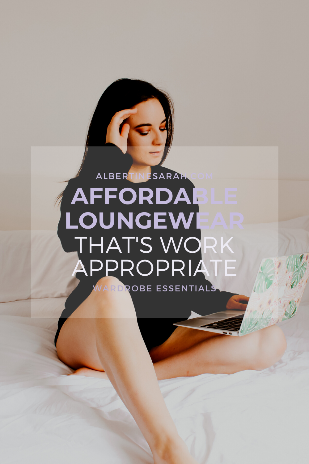 affordable lougewear that's work appropriate Pinterest graphic