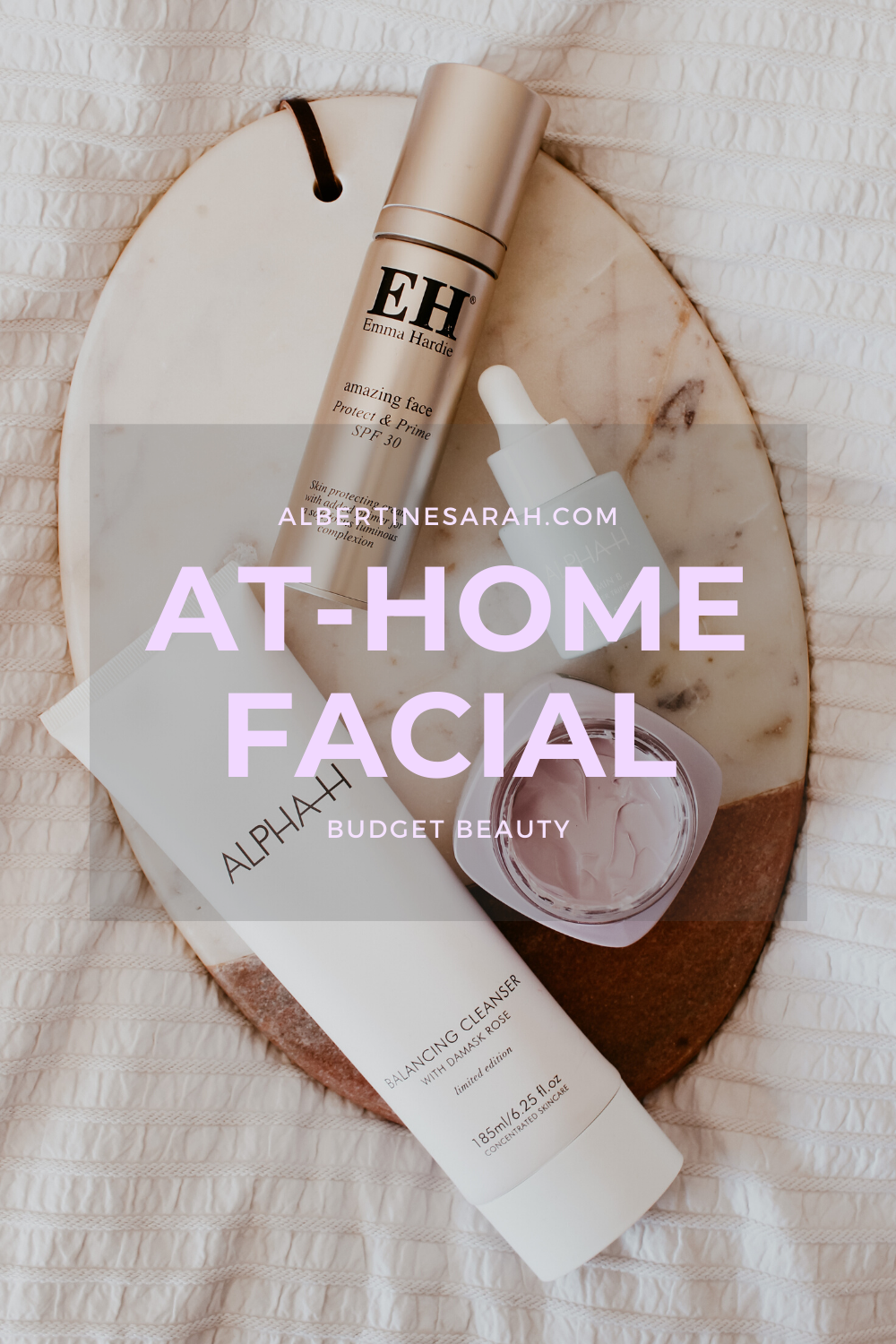 at-home facial Pinterest graphic