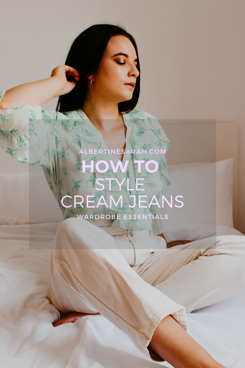 cream jeans Pinterest graphic