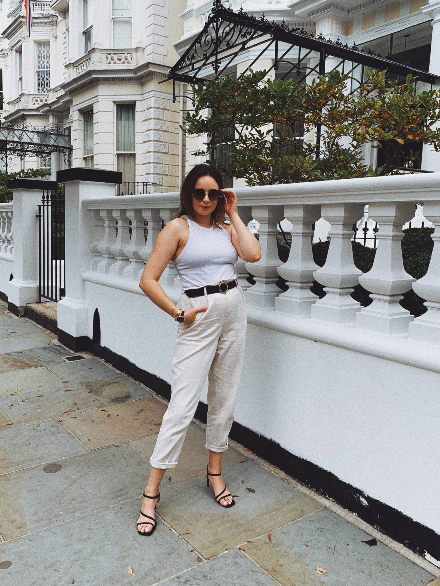 cream jeans evening outfit