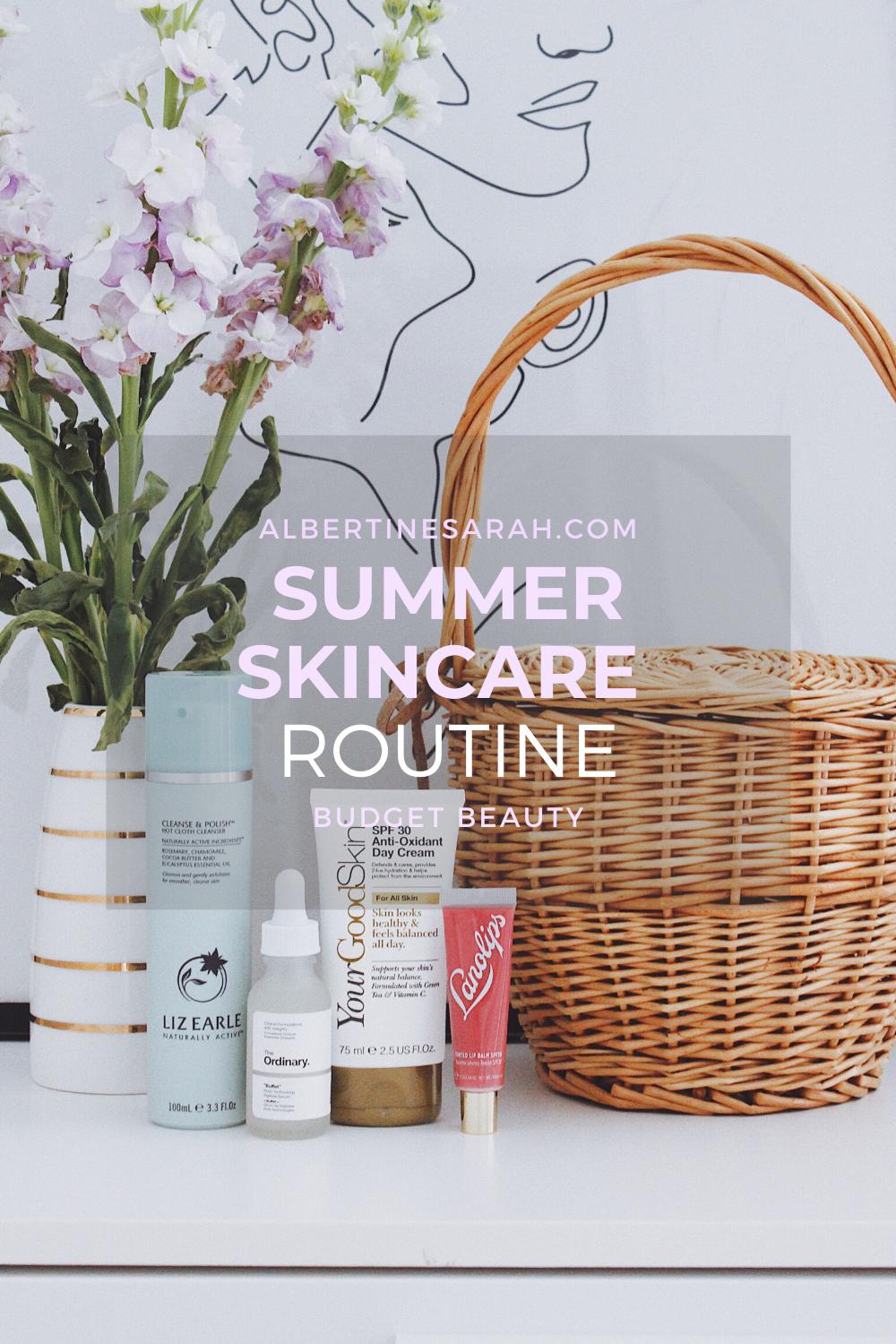 Summer skincare routine Pinterest graphic